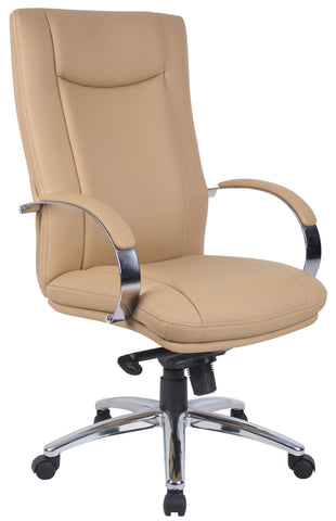 Aaria Collection Elektra High Back Executive Chair / Chrome Finish / Tan Upholstery/ Knee Tilt