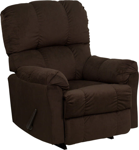 Contemporary Top Hat Chocolate Microfiber Rocker Recliner [AM-9320-4171-GG]