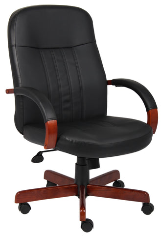 Boss Leatherplus Exec. Chair W/Cherry Finish