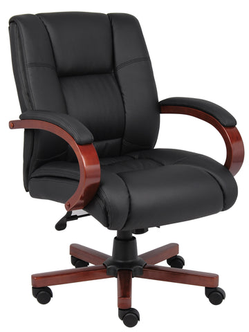 Boss Mid Back Executive Wood Finished Chairs