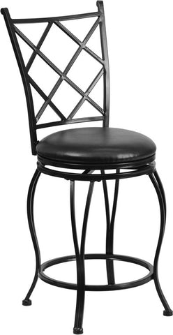 24'' Black Metal Counter Height Stool with Black Leather Swivel Seat [BS-6203-24-BK-CTR-GG]
