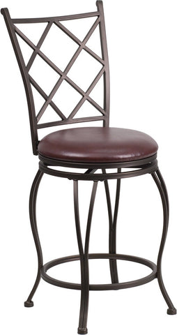 24'' Brown Metal Counter Height Stool with Brown Leather Swivel Seat [BS-6203-24-BN-CTR-GG]