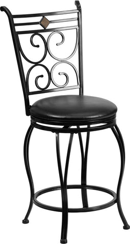 24'' Black Metal Counter Height Stool with Black Leather Swivel Seat [BS-6204-24-BK-CTR-GG]