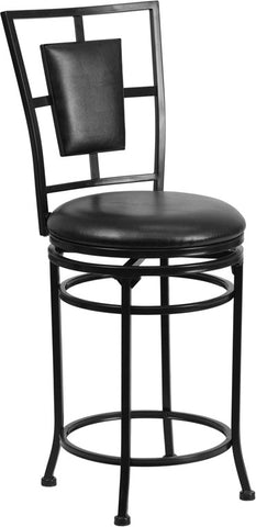 24'' Black Metal Counter Height Stool with Black Leather Swivel Seat [BS-6357-24-BK-CTR-GG]