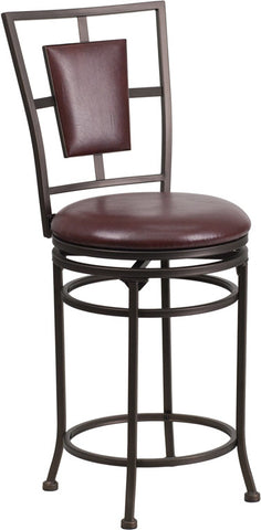 24'' Brown Metal Counter Height Stool with Brown Leather Swivel Seat [BS-6357-24-BN-CTR-GG]