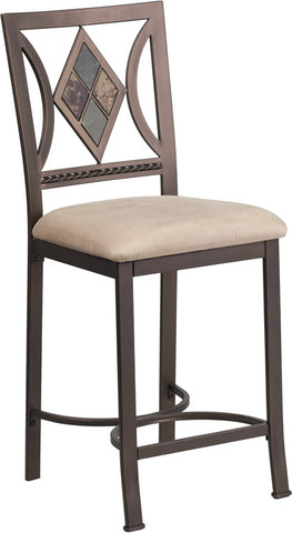 24'' Brown Metal Counter Height Stool with Beige Microfiber Seat [BS-T314-24-BGE-MIC-CTR-GG]