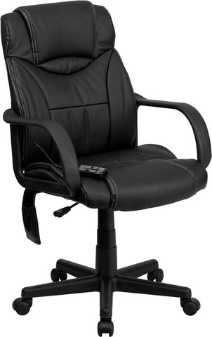High Back Massaging Black Leather Executive Office Chair [BT-2690P-GG]