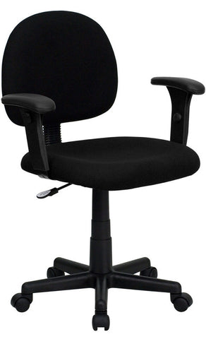 Mid-Back Ergonomic Black Fabric Task Chair with Adjustable Arms [BT-660-1-BK-GG]