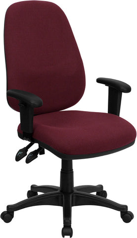 High Back Burgundy Fabric Ergonomic Computer Chair with Height Adjustable Arms [BT-661-BY-GG]