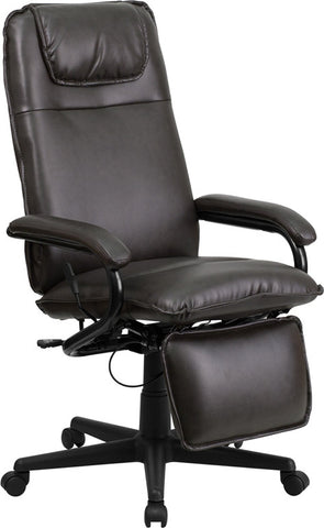 High Back Brown Leather Executive Reclining Office Chair [BT-70172-BN-GG]