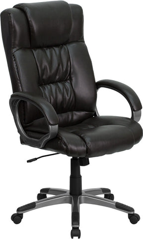 High Back Espresso Brown Leather Executive Office Chair [BT-9002H-BRN-GG]
