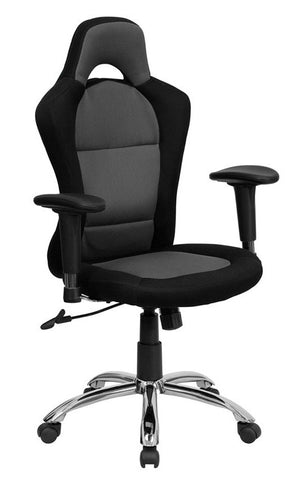 Race Car Inspired Bucket Seat Office Chair in Gray & Black Mesh [BT-9015-GYBK-GG]