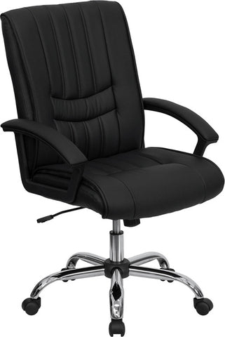 Mid-Back Black Leather Manager's Chair [BT-9076-BK-GG]