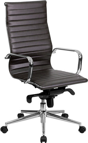 High Back Brown Ribbed Upholstered Leather Executive Office Chair [BT-9826H-BRN-GG]