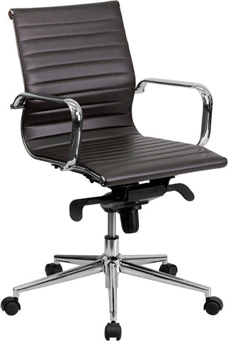 Mid-Back Brown Ribbed Upholstered Leather Conference Chair [BT-9826M-BRN-GG]