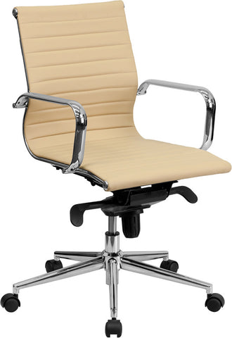 Mid-Back Tan Ribbed Upholstered Leather Conference Chair [BT-9826M-TAN-GG]