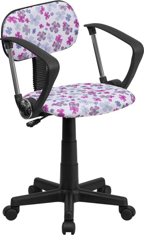 Multi-Colored Flower Printed Computer Chair with Arms [BT-FLWR-A-GG]