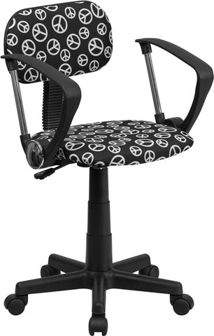 Peace Sign Printed Computer Chair with Arms [BT-PEACE-A-GG]