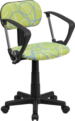 Blue & White Swirl Printed Green Computer Chair with Arms [BT-SWRL-A-GG]