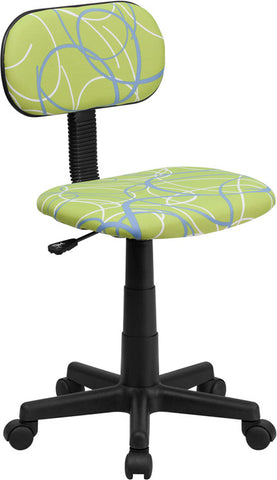 Blue & White Swirl Printed Green Computer Chair [BT-SWRL-GG]