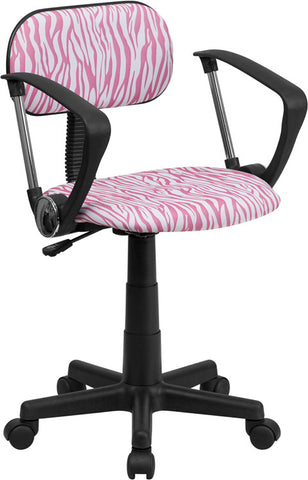 Pink and White Zebra Print Computer Chair with Arms [BT-Z-PK-A-GG]