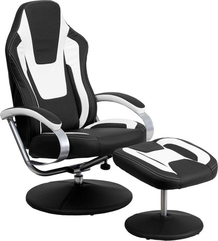 Racing Style Black and White Vinyl Recliner and Ottoman [CH-125695-3-GG]