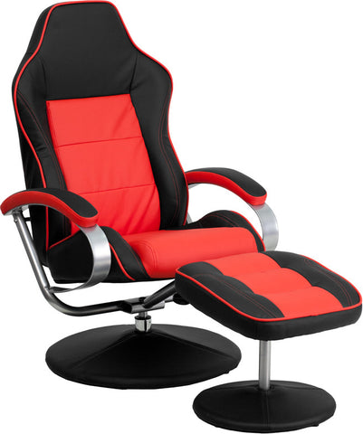 Racing Style Black and Red Vinyl Recliner and Ottoman [CH-125696-1-GG]
