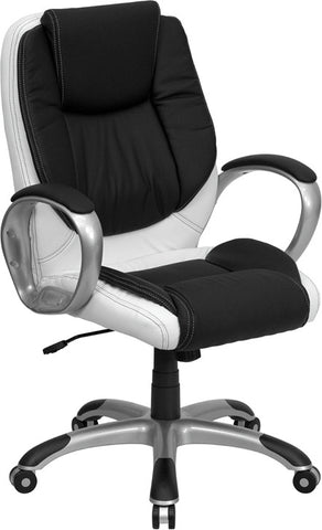 Mid-Back Black and White Leather Executive Swivel Office Chair [CH-CX0217M-GG]