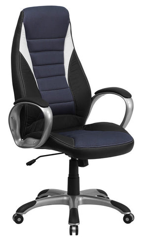 High Back Black Vinyl Executive Office Chair with Blue Mesh Inserts [CH-CX0243H-SAT-GG]