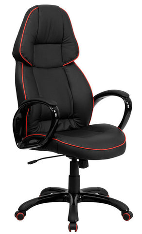 High Back Black Vinyl Executive Office Chair with Red Pipeline Border [CH-CX0248H01-VEN-GG]