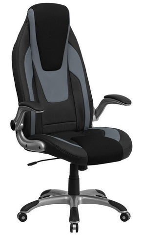 High Back Black & Gray Vinyl Executive Office Chair with Black Mesh Insets and Flip Up Arms [CH-CX0326H02-GG]