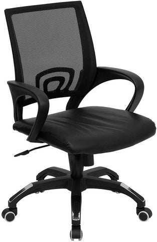 Mid-Back Black Mesh Computer Chair with Black Leather Seat [CP-B176A01-BLACK-GG]