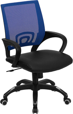 Mid-Back Blue Mesh Computer Chair with Black Leather Seat [CP-B176A01-BLUE-GG]