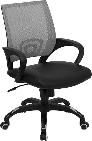 Mid-Back Gray Mesh Computer Chair with Black Leather Seat [CP-B176A01-GRAY-GG]
