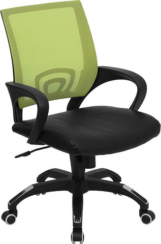 Mid-Back Green Mesh Computer Chair with Black Leather Seat [CP-B176A01-GREEN-GG]