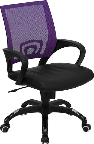 Mid-Back Purple Mesh Computer Chair with Black Leather Seat [CP-B176A01-PURPLE-GG]