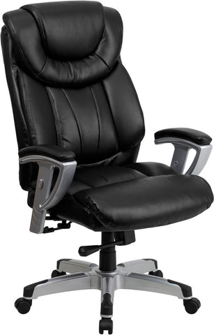 HERCULES Series 400 lb. Capacity Big & Tall Black Leather Office Chair with Arms [GO-1534-BK-LEA-GG]
