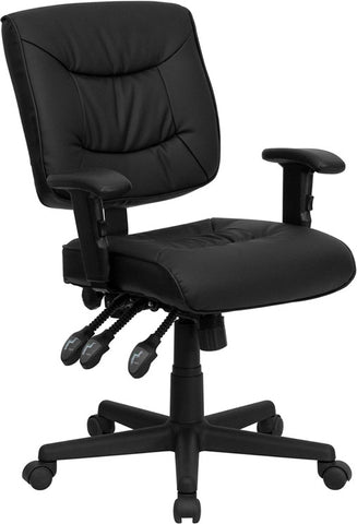 Mid-Back Black Leather Multi-Functional Task Chair with Height Adjustable Arms [GO-1574-BK-A-GG]