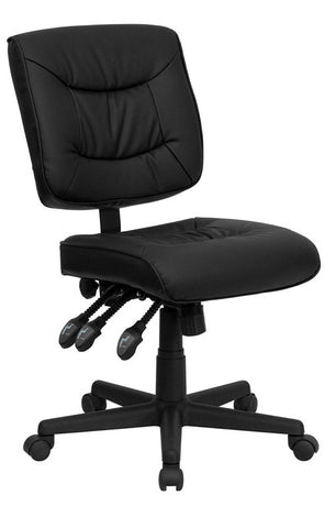 Mid-Back Black Leather Multi-Functional Task Chair [GO-1574-BK-GG]