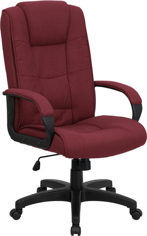 High Back Burgundy Fabric Executive Office Chair [GO-5301B-BY-GG]
