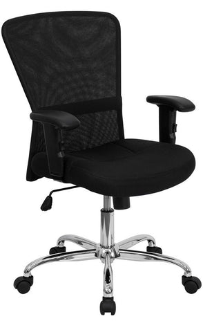 Mid-Back Black Mesh Contemporary Computer Chair with Adjustable Arms and Chrome Base [GO-5307B-GG]