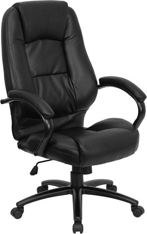 High Back Black Leather Executive Office Chair [GO-710-BK-GG]