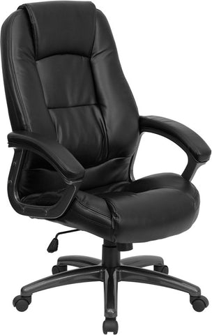 High Back Black Leather Executive Office Chair [GO-7145-BK-GG]