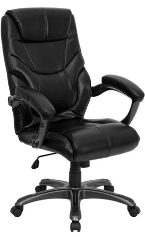 High Back Black Leather Overstuffed Executive Office Chair [GO-724H-BK-LEA-GG]