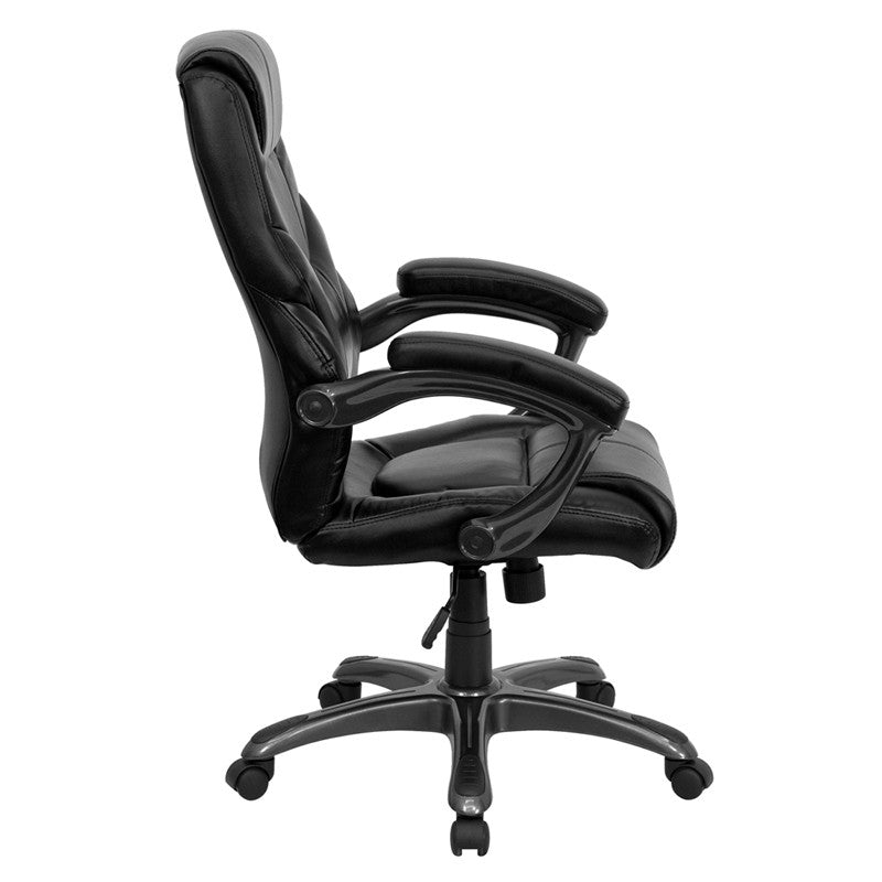 high back black leather overstuffed executive office chair go 724h