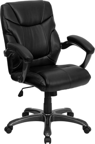 Mid-Back Black Leather Overstuffed Office Chair [GO-724M-MID-BK-LEA-GG]