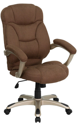 High Back Brown Microfiber Upholstered Contemporary Office Chair [GO-725-BN-GG]