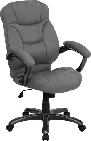 High Back Gray Microfiber Upholstered Contemporary Office Chair [GO-725-GY-GG]