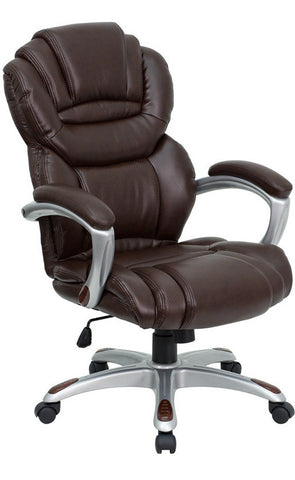 High Back Brown Leather Executive Office Chair with Leather Padded Loop Arms [GO-901-BN-GG]