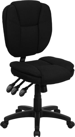 Mid-Back Black Fabric Multi-Functional Ergonomic Task Chair [GO-930F-BK-GG]